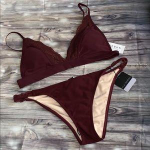 Maroon bikini set by la hearts ♥️ with lace